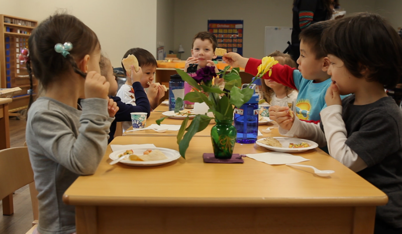 International Preschool Students Eating