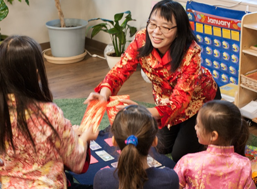 Teacher in Elementary Chinese Immersion Classroom